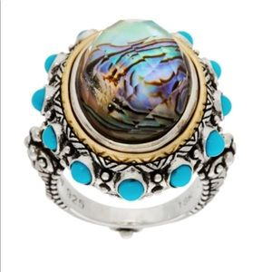 Barbara Bixby Sterling/18K Abalone/Turquoise Ring